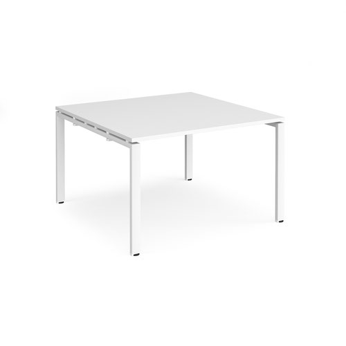 Adapt square boardroom table 1200mm x 1200mm - white frame and white top