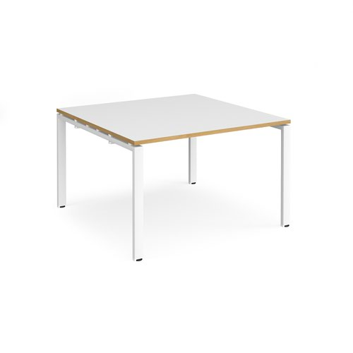 Adapt square boardroom table 1200mm x 1200mm - white frame and white top with oak edging