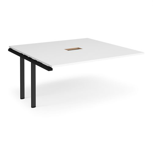 Adapt boardroom table add on unit 1600mm x 1600mm with central cutout 272mm x 132mm - black frame and white top