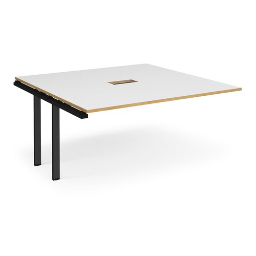 Adapt boardroom table add on unit 1600mm x 1600mm with central cutout 272mm x 132mm - black frame and white with oak edge top