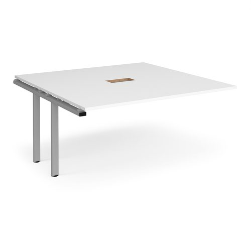 Adapt boardroom table add on unit 1600mm x 1600mm with central cutout 272mm x 132mm - silver frame and white top