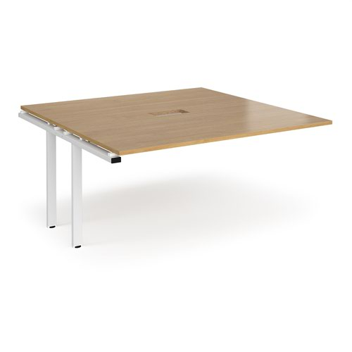 Adapt boardroom table add on unit 1600mm x 1600mm with central cutout 272mm x 132mm - white frame and oak top