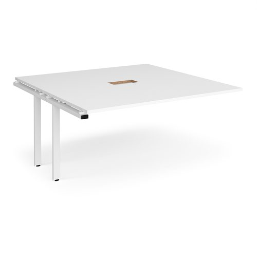Adapt boardroom table add on unit 1600mm x 1600mm with central cutout 272mm x 132mm - white frame and white top