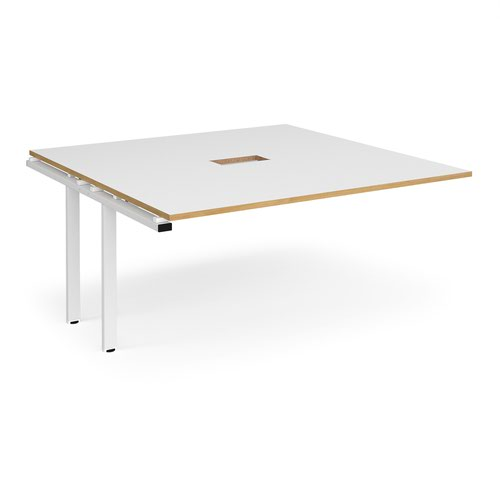 Adapt boardroom table add on unit 1600mm x 1600mm with central cutout 272mm x 132mm - white frame and white with oak edge top