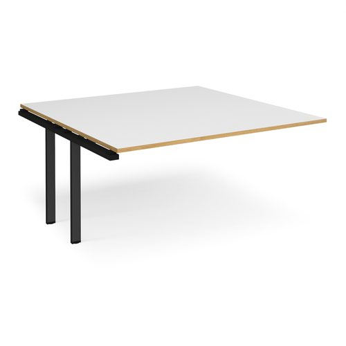 Adapt boardroom table add on unit 1600mm x 1600mm - black frame and white top with oak edging