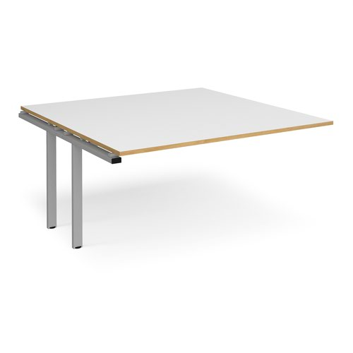Adapt boardroom table add on unit 1600mm x 1600mm - silver frame and white top with oak edging