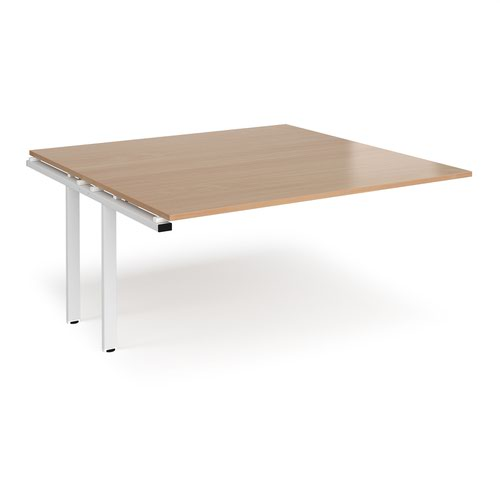 Adapt boardroom table add on unit 1600mm x 1600mm - white frame and beech top