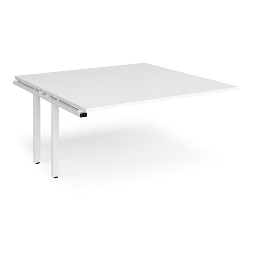 Adapt boardroom table add on unit 1600mm x 1600mm - white frame and white top