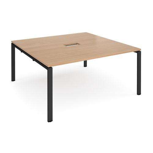 Adapt square boardroom table 1600mm x 1600mm with central cutout 272mm x 132mm - black frame and beech top