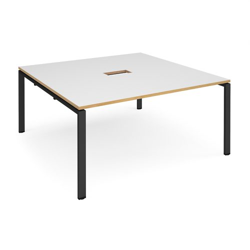 Adapt square boardroom table 1600mm x 1600mm with central cutout 272mm x 132mm - black frame and white with oak edge top