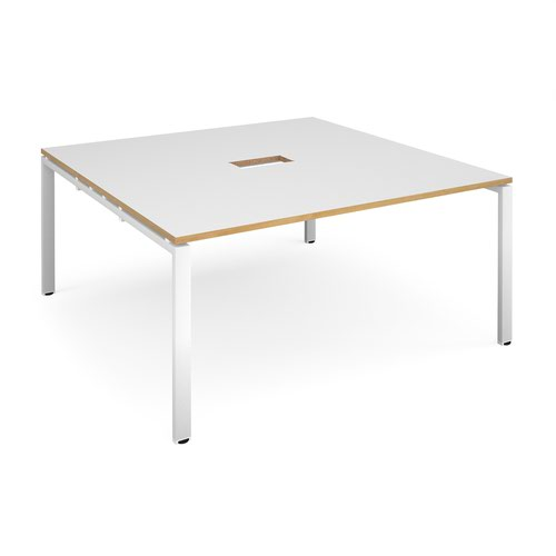 Adapt square boardroom table 1600mm x 1600mm with central cutout 272mm x 132mm - white frame and white with oak edge top