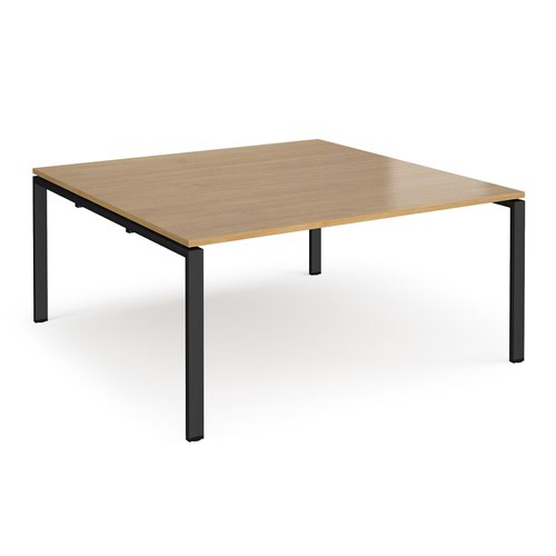 Adapt square boardroom table 1600mm x 1600mm - black frame and oak top