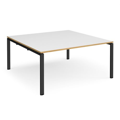 Adapt square boardroom table 1600mm x 1600mm - black frame and white top with oak edging