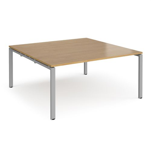 Adapt square boardroom table 1600mm x 1600mm - silver frame and oak top