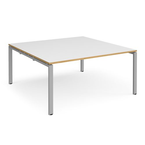 Adapt square boardroom table 1600mm x 1600mm - silver frame and white top with oak edging