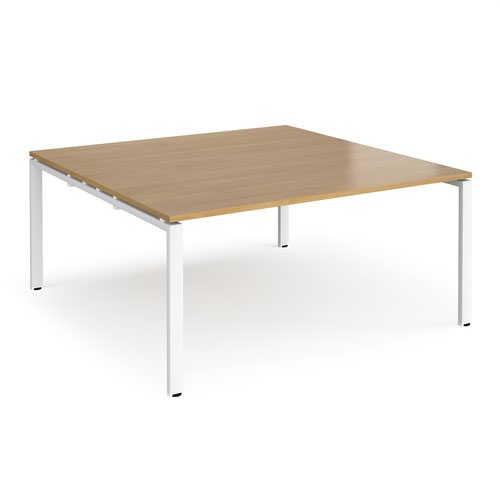 Adapt boardroom table starter unit 1600mm x 1600mm - white frame and oak top
