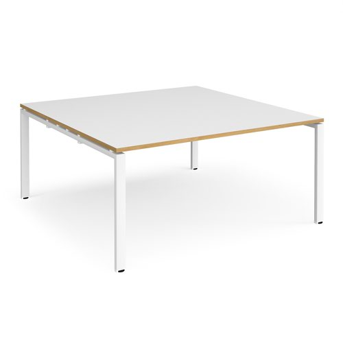 Adapt square boardroom table 1600mm x 1600mm - white frame and white top with oak edging