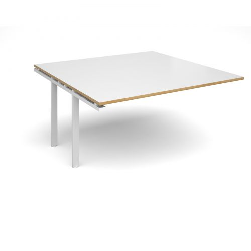 Astounding Adapt Ii Boardroom Table Add On Unit 1600Mm X 1600Mm White Frame And White Top With Oak Edging Interior Design Ideas Clesiryabchikinfo