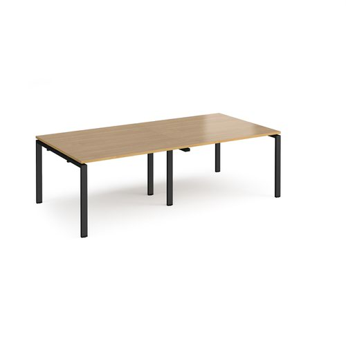 Adapt rectangular boardroom table 2400mm x 1200mm - black frame and oak top