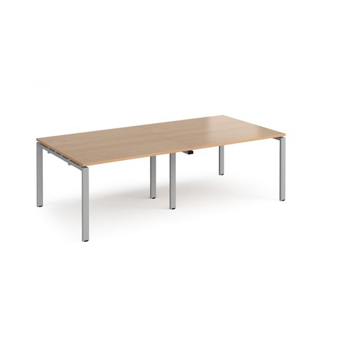 Adapt rectangular boardroom table 2400mm x 1200mm - silver frame and beech top