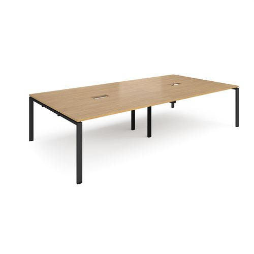 Adapt rectangular boardroom table 3200mm x 1600mm with 2 cutouts 272mm x 132mm - black frame and oak top