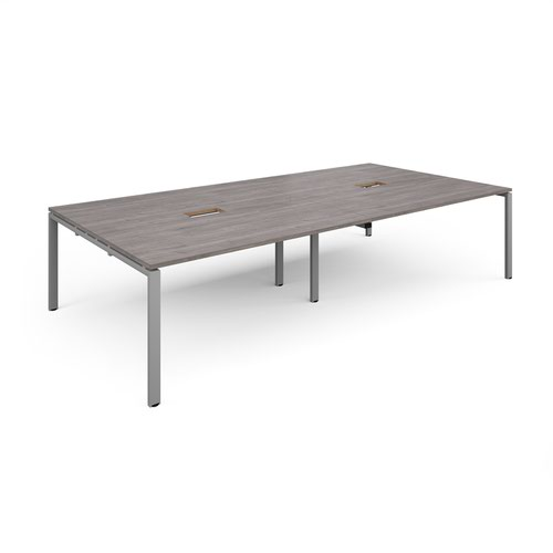 Adapt rectangular boardroom table 3200mm x 1600mm with 2 cutouts 272mm x 132mm - silver frame and grey oak top