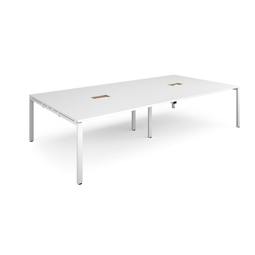 Adapt rectangular boardroom table 3200mm x 1600mm with 2 cutouts 272mm x 132mm - white frame and white top