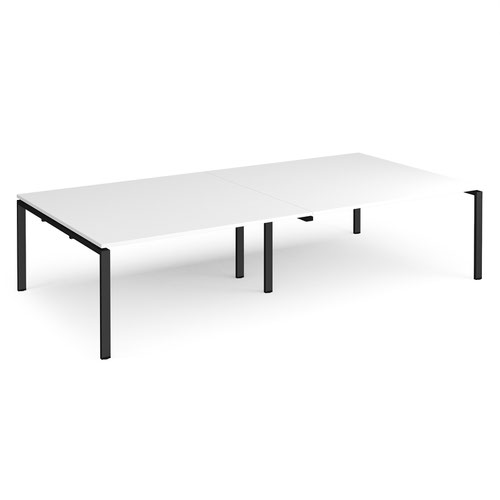 Adapt rectangular boardroom table 3200mm x 1600mm - black frame and white top