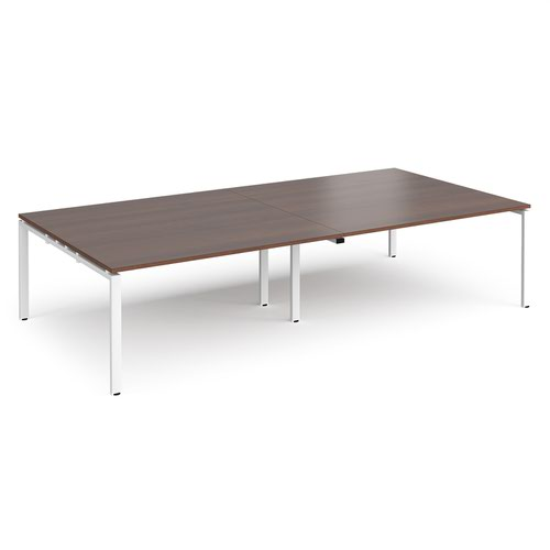 Adapt rectangular boardroom table 3200mm x 1600mm - white frame and walnut top
