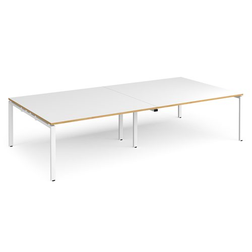 Adapt rectangular boardroom table 3200mm x 1600mm - white frame and white top with oak edging