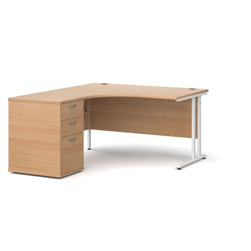 Maestro 25 left hand ergonomic desk 1400mm with white cantilever frame and desk high pedestal - beech