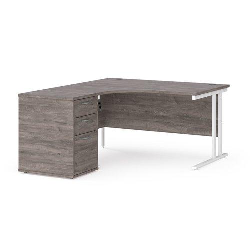 Maestro 25 left hand ergonomic desk 1400mm with white cantilever frame and desk high pedestal - grey oak