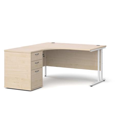 Maestro 25 left hand ergonomic desk 1400mm with white cantilever frame and desk high pedestal - maple