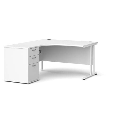 Maestro 25 left hand ergonomic desk 1400mm with white cantilever frame and desk high pedestal - white