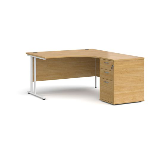 Maestro 25 right hand ergonomic desk 1400mm with white cantilever frame and desk high pedestal - oak