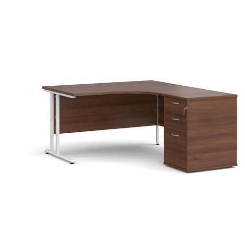 Maestro 25 right hand ergonomic desk 1400mm with white cantilever frame and desk high pedestal - walnut