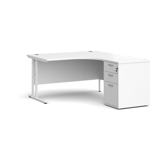 Maestro 25 right hand ergonomic desk 1400mm with white cantilever frame and desk high pedestal - white