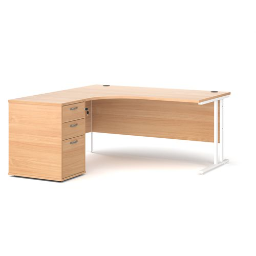 Maestro 25 left hand ergonomic desk 1600mm with white cantilever frame and desk high pedestal - beech