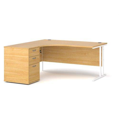 Maestro 25 left hand ergonomic desk 1600mm with white cantilever frame and desk high pedestal - oak
