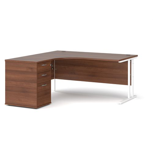 Maestro 25 left hand ergonomic desk 1600mm with white cantilever frame and desk high pedestal - walnut