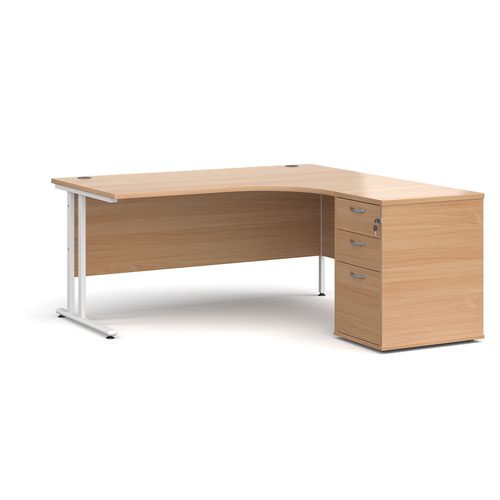 Maestro 25 right hand ergonomic desk 1600mm with white cantilever frame and desk high pedestal - beech