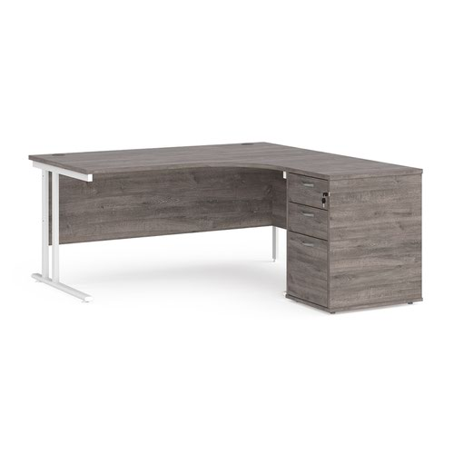 Maestro 25 right hand ergonomic desk 1600mm with white cantilever frame and desk high pedestal - grey oak
