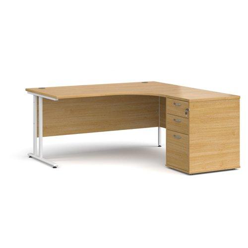 Maestro 25 right hand ergonomic desk 1600mm with white cantilever frame and desk high pedestal - oak