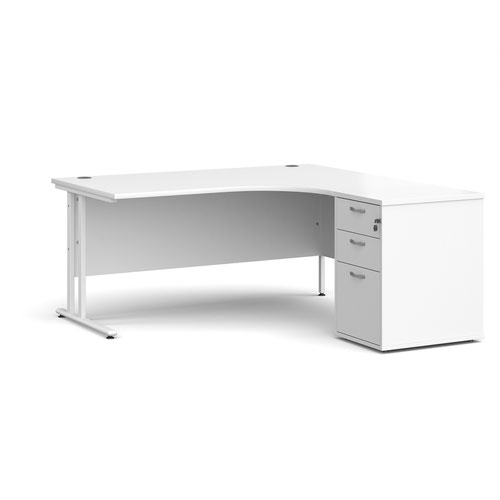 Maestro 25 right hand ergonomic desk 1600mm with white cantilever frame and desk high pedestal - white