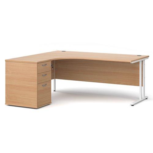 Maestro 25 left hand ergonomic desk 1800mm with white cantilever frame and desk high pedestal - beech