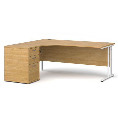 Maestro 25 left hand ergonomic desk 1800mm with white cantilever frame and desk high pedestal - oak