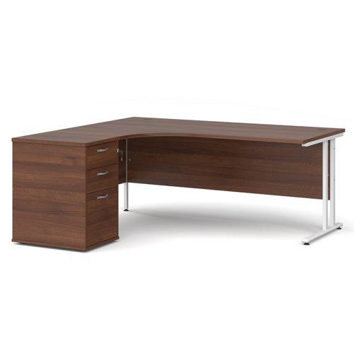 Maestro 25 left hand ergonomic desk 1800mm with white cantilever frame and desk high pedestal - walnut