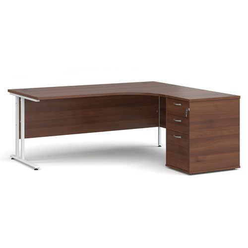 Maestro 25 right hand ergonomic desk 1800mm with white cantilever frame and desk high pedestal - walnut