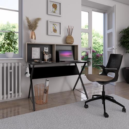 Ellora home office workstation with shelving storage unit - Black top with grey oak hutch and black frame Office Desks ELLWS-K