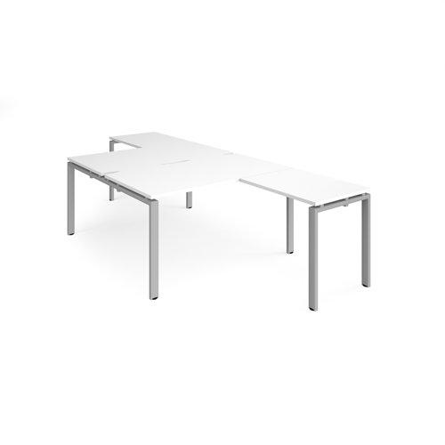 Adapt back to back desks 1400mm x 1600mm with 800mm return desks - silver frame and white top